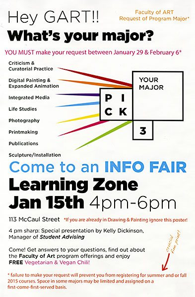 Info Fair at the Learning Zone January 15th, 4pm-6pm