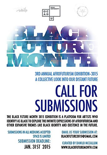 Black Future Month, call for submissions, January 31, 2015;3rd Annual Afrofuturism Exhibition 3015