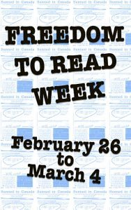 Freedom To Read Week zine display poster, February 26 to March 4