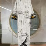 Kye-Cha Yang, White printed dressing robe with fringe