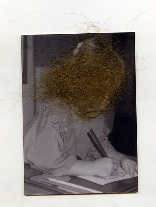 """Selection from Timeraiser 2014, Student Category: Carlie Woodworth, """"Self-Portrait"""" from the series """"Heirloom Objects"""", Inkjet on Matte. 13""""x19"""", 2014."""