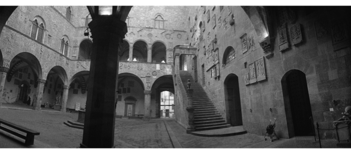 "Peter Sramek, The Courtyard of the Bargello, Archival pigment print, ed. 1 of 5, 2007, 18"" x 44"" Courtesy of the artist and Stephen Bulger Gallery Estimate: $3,350"