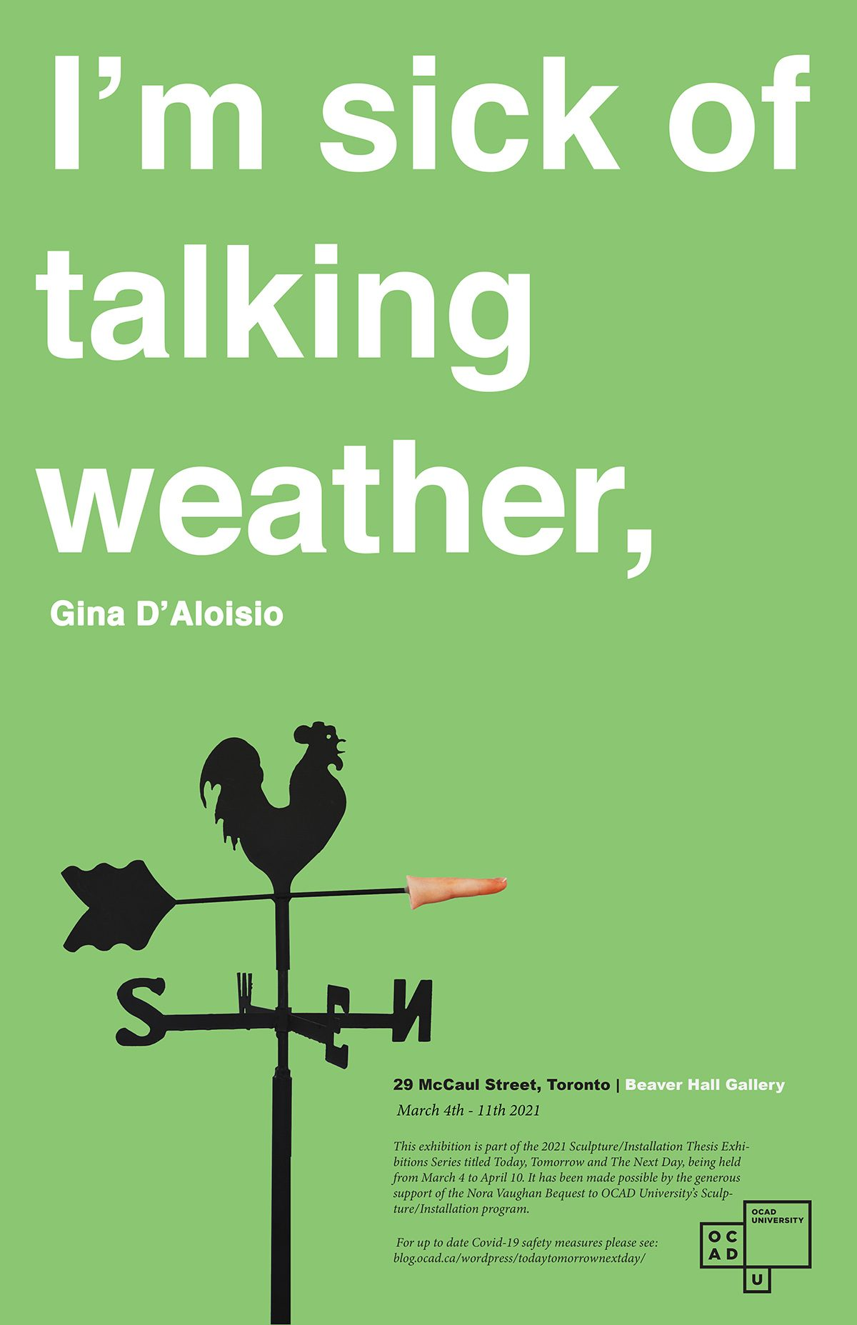 I'm sick of talking weather, : Gina D'Aloisio