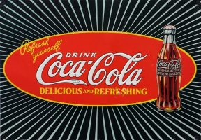 The Coca Cola logo is an example of fluid lines with bright colours.