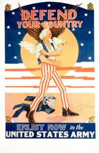 """""""Defend Your Country: Enlist Now in the United States Army"""" Recruitment Poster by Tom Woodburn"""