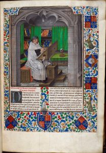 Vincent of Beauvais, Speculum historiale, translated into French by Jean de Vignay: Bruges, c. 1478-80 (London, British Library, MS Royal 14 E. i, f. 3r).