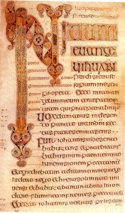 The Book of Durrow, opening page, the Gospel of Saint Mark, 680ce. Meggs, p281.