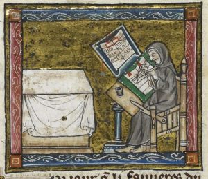 Detail of a miniature of a hermit at work on a manuscript, from the Estoire del Saint Graal, France (Saint-Omer or Tournai?), c. 1315 – 1325, Royal MS 14 E III, f. 6v