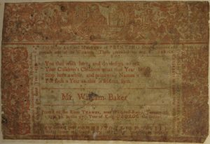 """An example of an ephemera printed in 1715, framed by a history description that shows that printing in England goes back to the 1470s. Source: """"Printed 'Frost Fair' ephemera in the University Library."""" Cambridge University Library Special Collections. Web."""