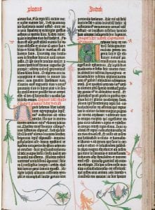 This is a great example of the first printing book and how the printing press gave great possibilities in the quality of production.