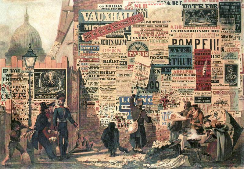 (Fig.2) John Orlando Parry, London Street Scene, 1835. This illustration shows the busy streets of London, filled with advertisements, reflecting the promoted mass production during the 19th century.