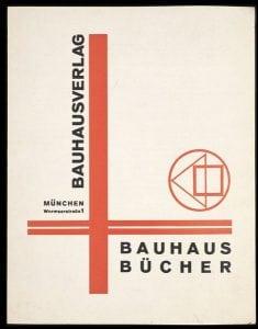 """Moholy-Nagy, Laszlo. """"Bauhaus Verlag Bauhaus Bücher"""" 1924. Leaflet advertising Bauhaus Bücher. © Victoria and Albert Museum, London."""