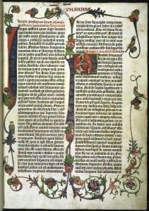"""Johann Gutenberg, """"Gutenberg Bible"""", Mainz, 1455. The British Library. https://www.bl.uk/collection-items/gutenberg-bible"""