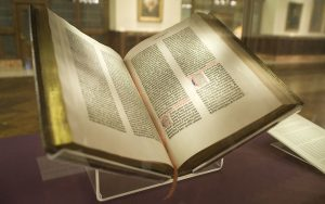 The Gutenberg Bible. c. 1455. Lennox Library. Photo by NYC Wanderer. Flickr.