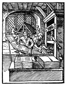 Early wooden printing press. 1568. Image by Jost Amman. Wikimedia Commons.