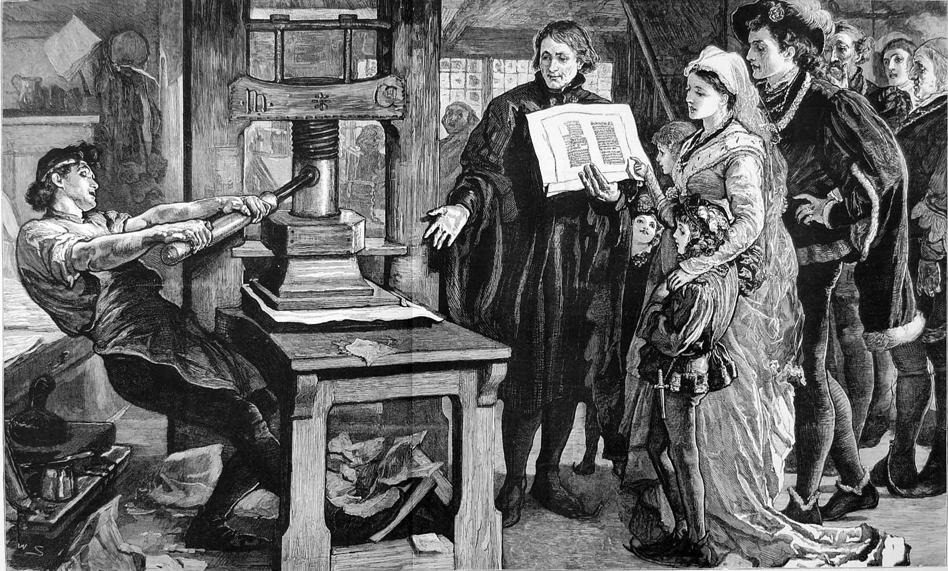 Printer operating a Gutenberg style screw press. William Caxton showing specimens of his printing to King Edward IV and his Queen. Fifteenth century. Published in The Graphic refering to The Caxton Celebration. 1877. Wikimedia Commons.