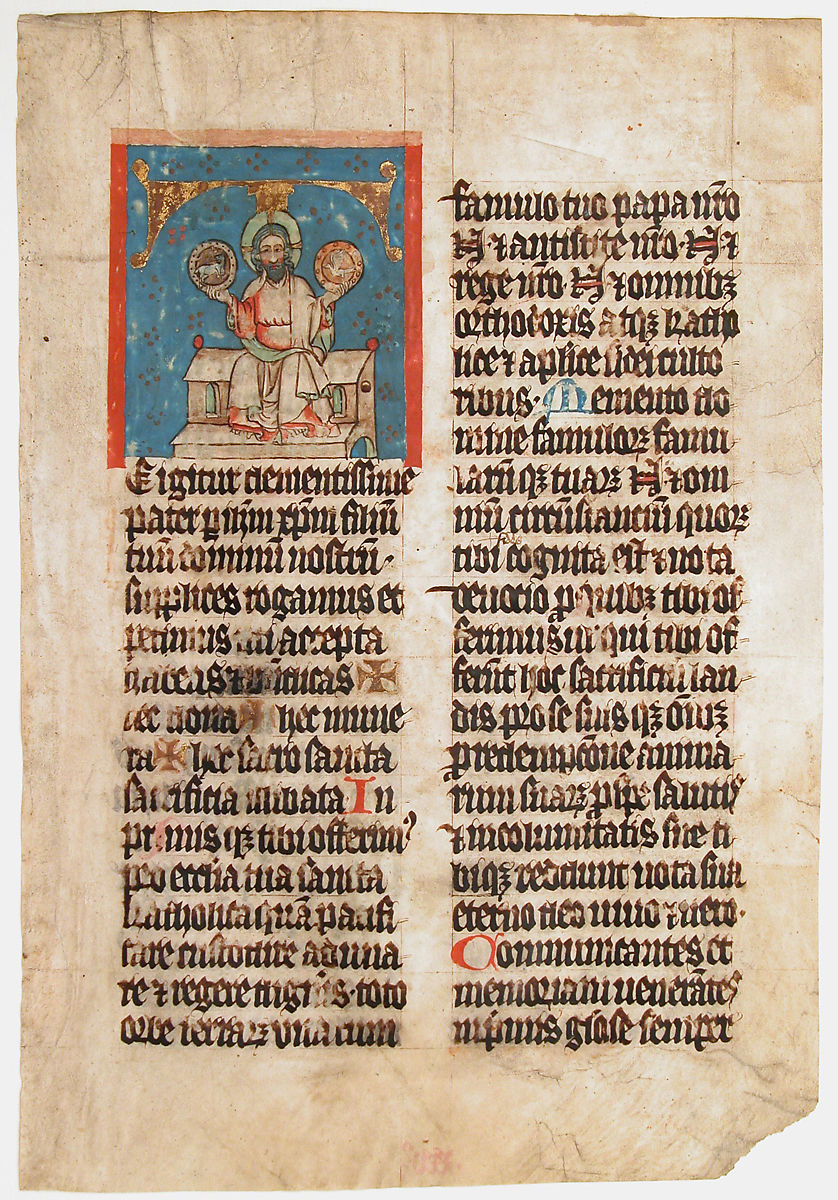 Manuscript Leaf with the Holy Trinity in an Initial T, from a Missal. c. 1390. Metropolitan Museum of Art.