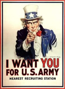 James Montgomery Flagg, poster for military recruiting, USA, 1917, public domain  https://commons.wikimedia.org/wiki/File:30b_Sammlung_Eybl_USA_James_Montgomery_Flagg_(1877-1960)_I_want_you_for_U.S._Army._1917._101_x_76_cm._(Coll..Nr._3116).jpg