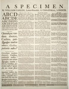 William Caslon, Broadside Type Specimen, 1734, Public domain https://commons.wikimedia.org/wiki/File:A_Specimen_by_William_Caslon.jpg
