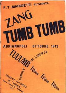 "Book Cover of Zamg Tumb Tumb, Filippo Tommaso Marinetti, Futurist editions of ""Poesia"", Milan, 1914. Talmoryair at Hebrew Wikipedia [CC BY-SA 3.0 (https://creativecommons.org/licenses/by-sa/3.0)]"