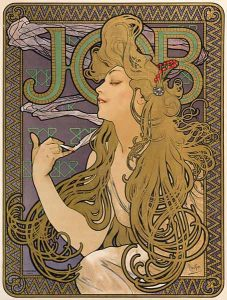 Alphonse Mucha, Job cigarette papers poster, 1896. Chromolithograph