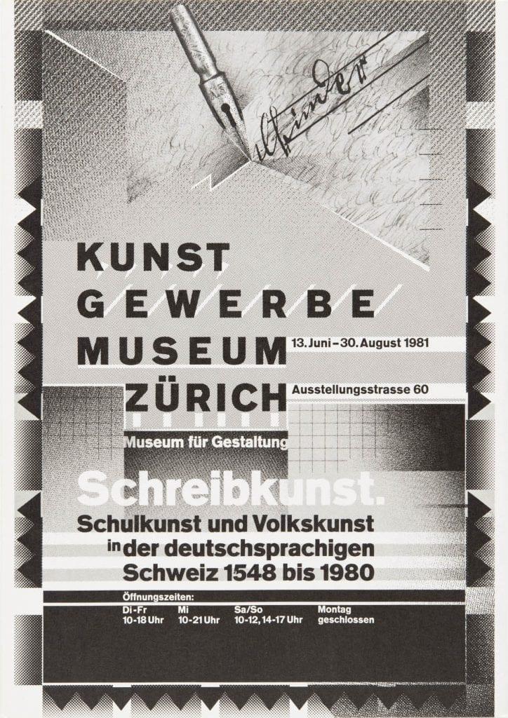 Wolfgang Weingart, Schreibkunst (Writing Art), poster, 1981. Museum fur Gestaltung, Zurich