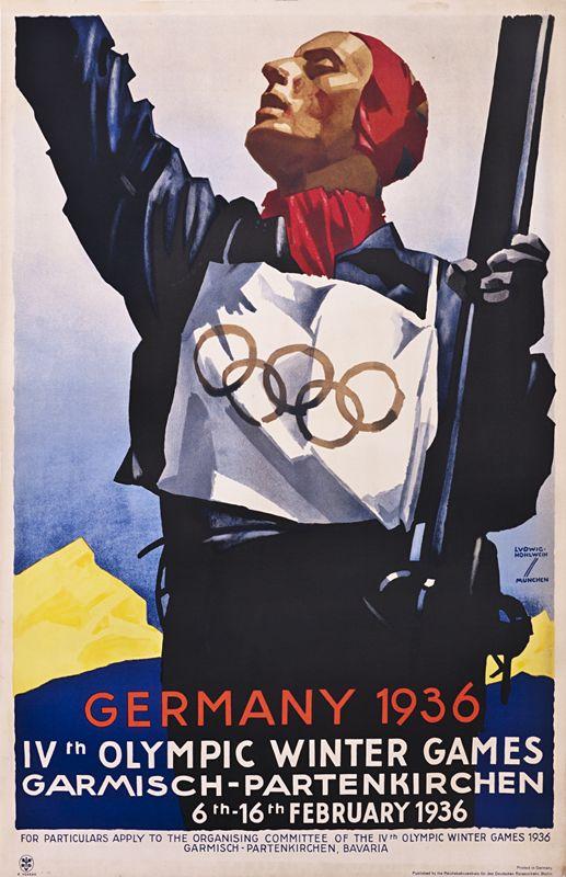 Ludwig Hohlwein, Olympics at Garmisch- Partenkirchen, Germany, 1936. (Courtesy of International Poster Gallery))