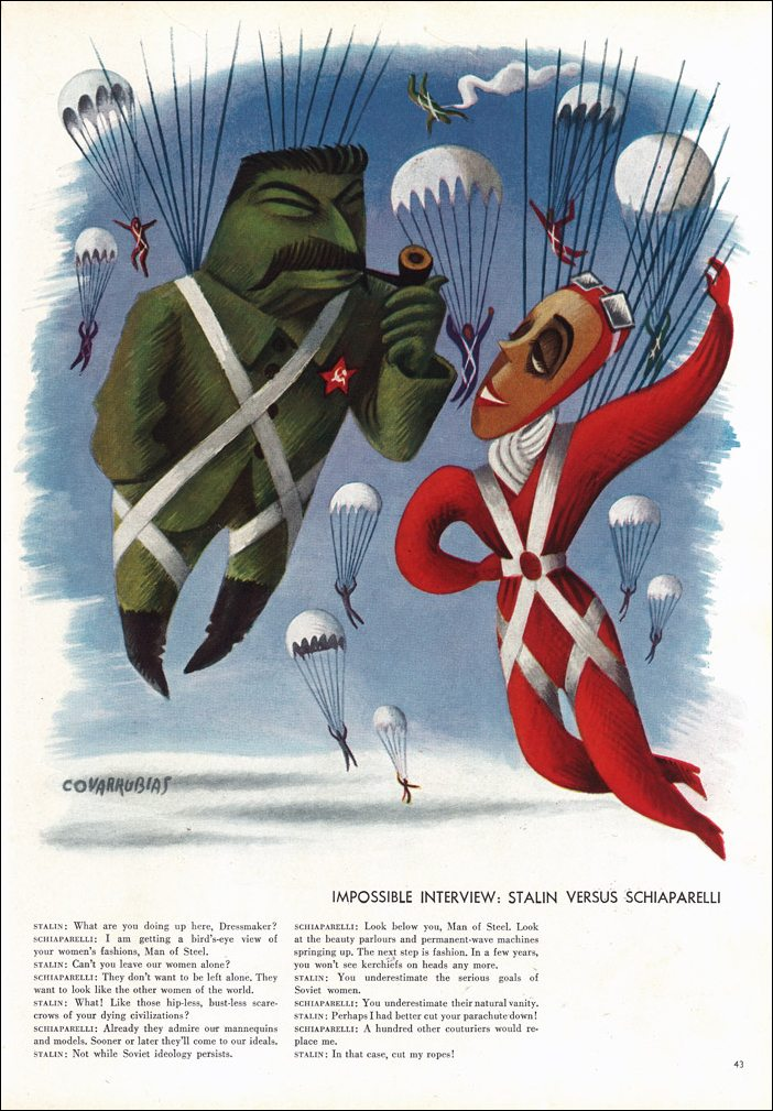 "Miguel Covarrubias, ""Impossible Interview: Stalin Versus Schiaparelli,"" June, 1936"