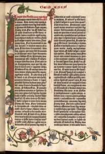 Johannes Gutenberg, Genesis page from 42-Line Bible, Mainz, Germany, c. 1455.