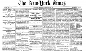 New York Times Spread from September 23, 1862. Nameplate designed by Henry Jarvis Raymond.
