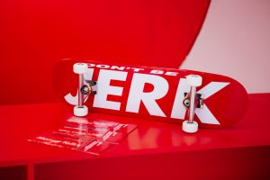 """Don't Be A Jerk"" skateboard. Volcom x Performa 17 Biennial, Barbara Kruger collection."