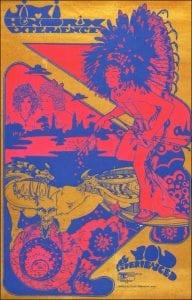Poster Jimi Hendrix Experience, Fillmore Auditorium; Poster for the Jimi Hendrix Experience at Fillmore Auditorium. Hapshash and the Coloured Coat London 1967 Screen print on paper