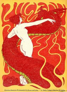 Hans Christiansen, Andromeda, 1898. Art journal cover. Jugend, Munich, Germany.