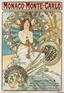 Alphonse Mucha, Monaco-Monte-Carlo, 1897. Lithograph.