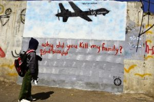 Figure 1. Murad Subay's street art criticizing the use of drones by the USA in Yemen, 2014 (Source: https://theboylanblog.wordpress.com/2013/12/16/street-art-as-protest-against-drone-warfare-in-yemen/)