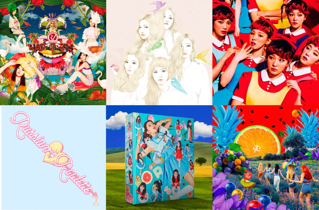 Red Velvet releases before Perfect Velvet (from top left: Happiness (2014), Ice Cream Cake (2015), The Red (2015), Russian Roulette (2016), The Red Summer (2017))