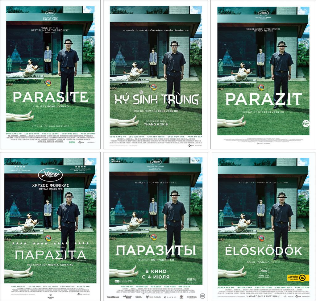 official posters for Parasite from, clockwise from top left, the US, Vietnam, the Czech Republic, Hungary, Russia and Greece