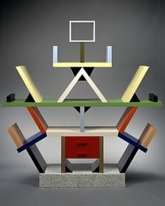 """Carlton"" Room Divider by Ettore Sottsass, Wood & Plastic Laminate 1981. Image from https://www.metmuseum.org/exhibitions/objects?exhibitionId=d1debf05-fe5b-4d90-8674-fc60b5dca3c9&pkgids=441#!?perPage=20&offset=160"