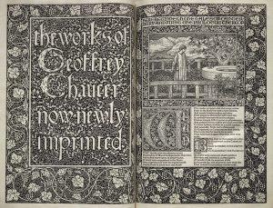 "Fig 3. Title page from ""The Works of Geoffrey Chaucer"" (Printed by William Morris, at the Kelmscott Press, Upper Mall, Hammersmith, 1896). One of 425 copies on paper."