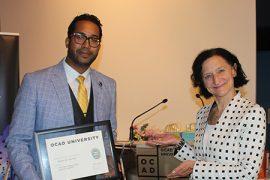 Andre De Freitas with OCAD U President Sara Diamond.