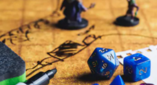 Close up photo of Dungeons and Dragons game board and game pieces.