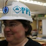 PPEnsure is properly worn on the head, turning the lights to solid blue.