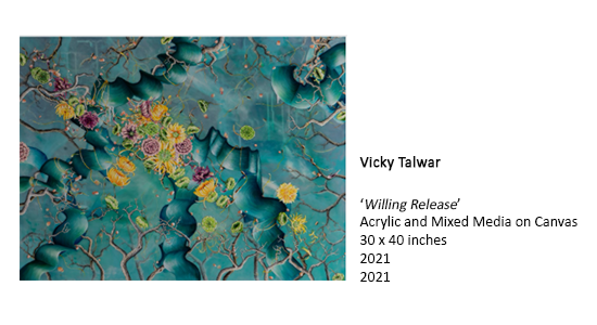 Vicky Talwar, 'Willing Release' Acrylic and Mixed Media on Canvas 30 x 40 inches 2021 2021