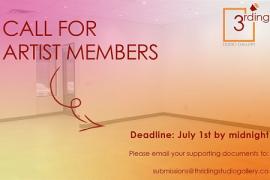 Call for membership, The Thirding Studio Gallery. July 1st 2021 deadline.