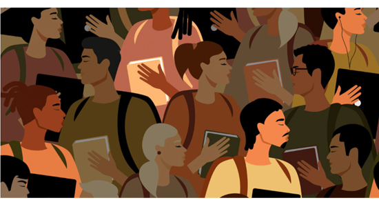 Illustration of a crowd of people for the webseries The Good and the Bad of Black Grad