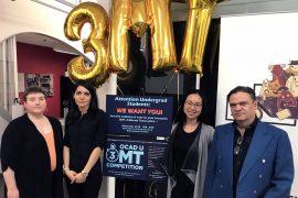 OCAD U 3MT finalists & Dean Graduate Studies: L to R - Alana Boltwood, Afrooz Samaei, Teresa Lee, Dr. Ashok Mathur