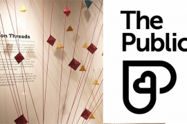 Photo of Common Threads installation and The Public logo, black text on white background.