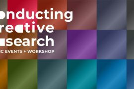 White text on Multi-colored checkered background: Conducting Creative Research, Public Events + Workshops
