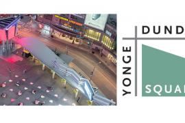 Arial photo of Dundas Square installation and Yonge Dundas Square logo.