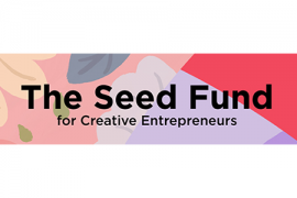 Pastel floral background with The Seed Fund for Creative Entrepreneurs in black text.